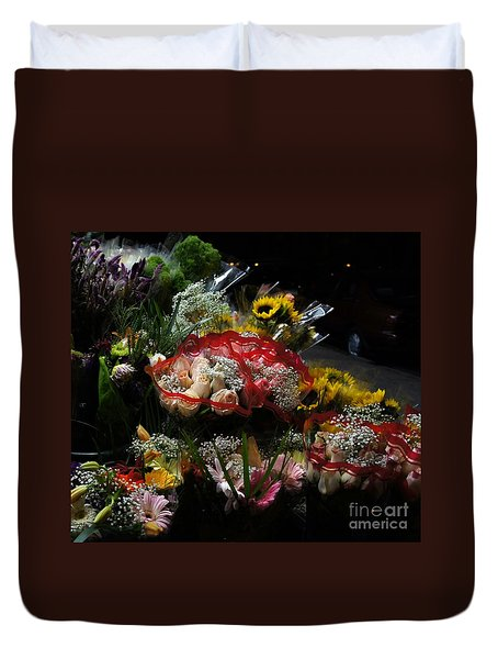 Duvet Cover featuring the photograph Sidewalk Flower Shop by Lilliana Mendez