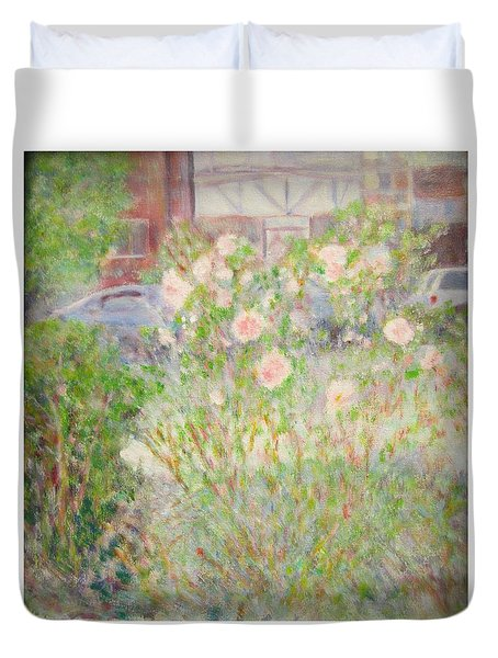 Sidewalk Flowers In Chicago Duvet Cover