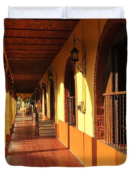 Sidewalk In Tlaquepaque District Of Guadalajara Duvet Cover by Elena Elisseeva