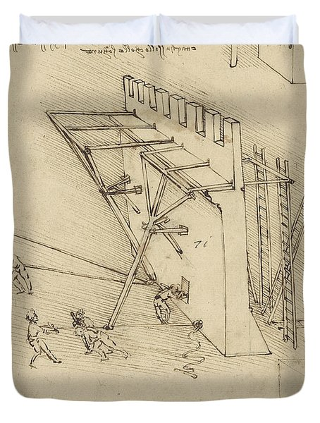Siege Machine In Defense Of Fortification With Details Of Machine From Atlantic Codex Duvet Cover by Leonardo Da Vinci