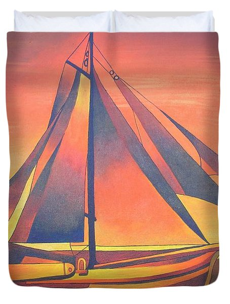 Duvet Cover featuring the painting Sienna Sails At Sunset by Tracey Harrington-Simpson