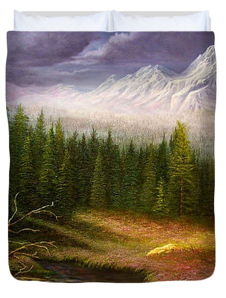 Duvet Cover featuring the painting Sierra Spring Storm by Loxi Sibley