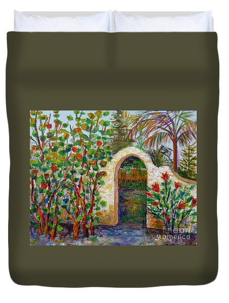 Duvet Cover featuring the painting Siesta Key Archway by Lou Ann Bagnall