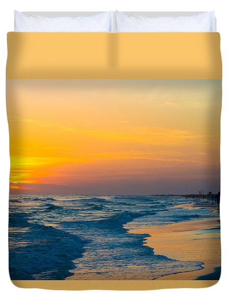 Siesta Key Sunset Walk Duvet Cover