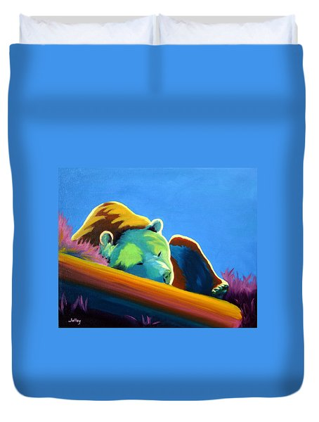 Duvet Cover featuring the painting Siesta Time by Nancy Jolley