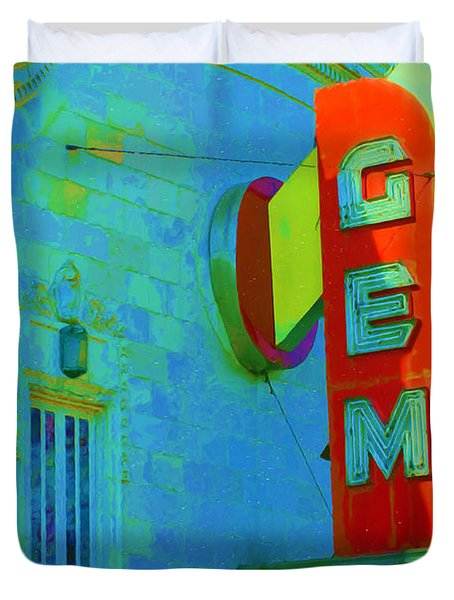 Sign - Gem Theater - Jazz District  Duvet Cover