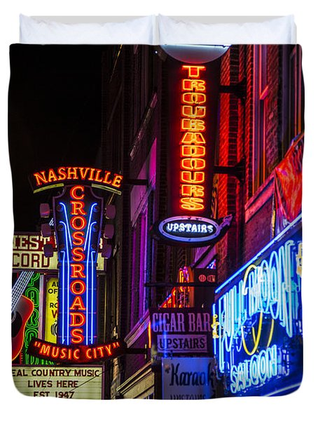 Signs Of Music Row Nashville Duvet Cover by John McGraw