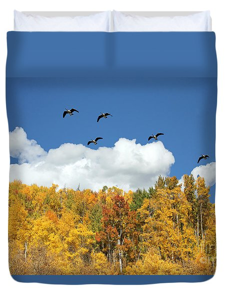 Signs Of The Season Duvet Cover by Bob Hislop