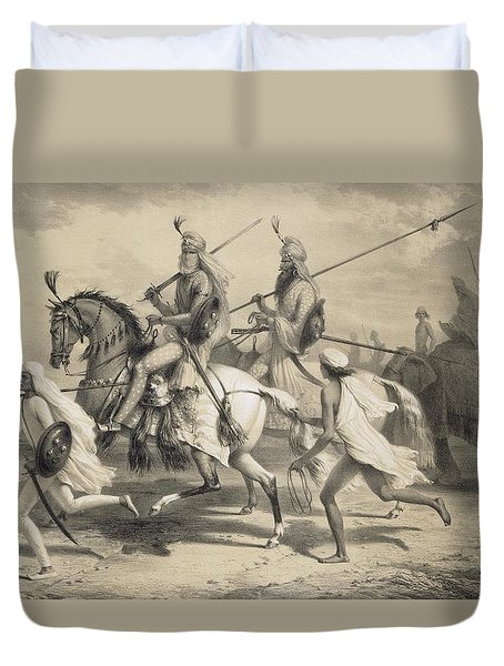 Sikh Chieftans Going Hunting Duvet Cover by A Soltykoff