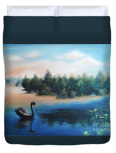 Duvet Cover featuring the painting Silence by Vesna Martinjak