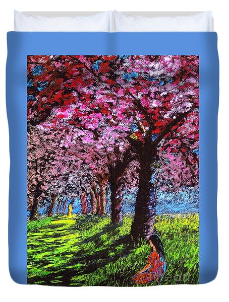 Contemporary Jesus Painting, Silent Communion Duvet Cover