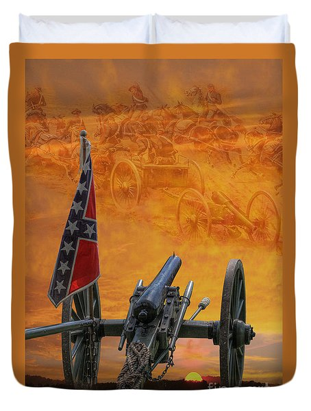 Silent Fields Of Gettysburg Duvet Cover by Randy Steele
