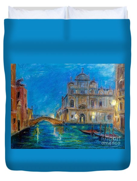 Duvet Cover featuring the painting Silent Night by Jiemin Wang