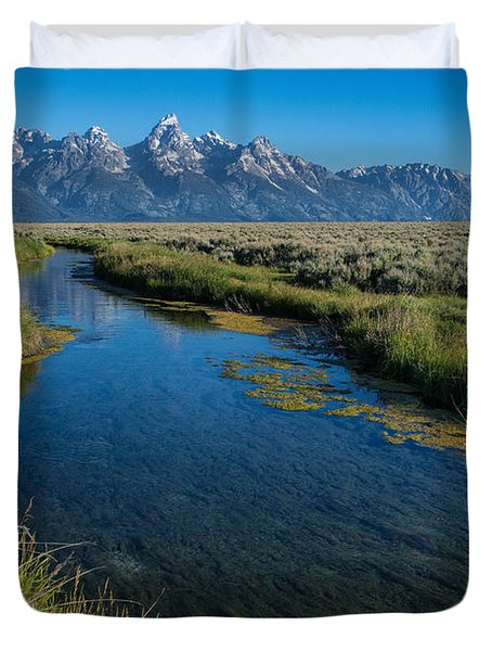 Silent Pathway To The Grand Tetons Duvet Cover by Sandra Bronstein