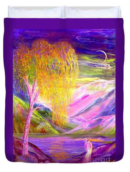 Silent Waters, Silver Birch And Egret Duvet Cover
