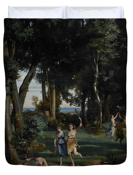 Silenus Duvet Cover by Jean Baptiste Camille Corot