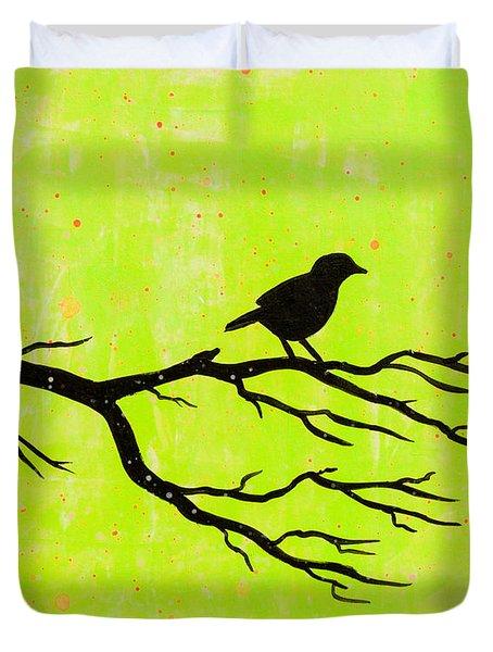 Silhouette Green Duvet Cover by Stefanie Forck