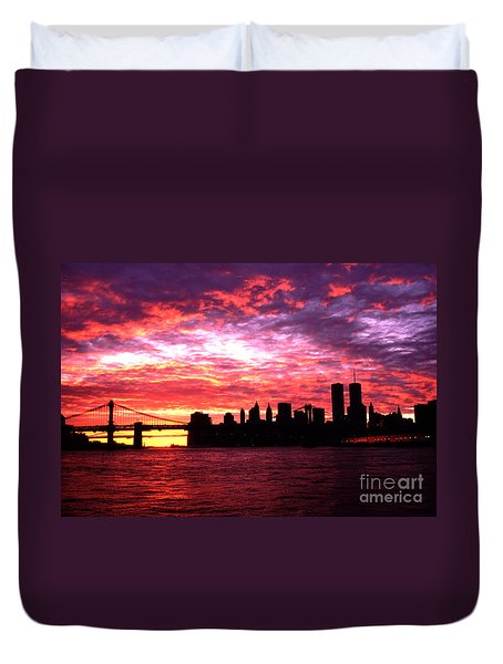 Duvet Cover featuring the photograph Silhouette Lower Manhattan Sunset Pre September 11 by Tom Wurl