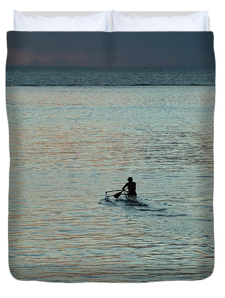 Silhouette Of A Person Driving Jet Ski Duvet Cover