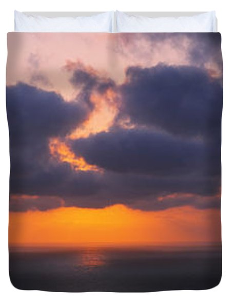 Silhouette Of A Person Paragliding Duvet Cover