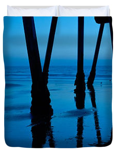 Silhouette Of A Pier, Hermosa Beach Duvet Cover