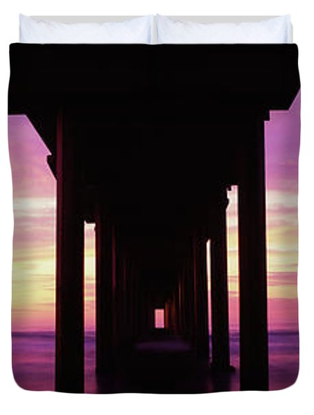 Silhouette Of A Pier In The Pacific Duvet Cover