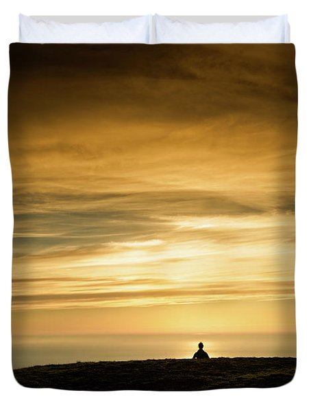 Silhouette Of A Woman Meditating On Top Duvet Cover