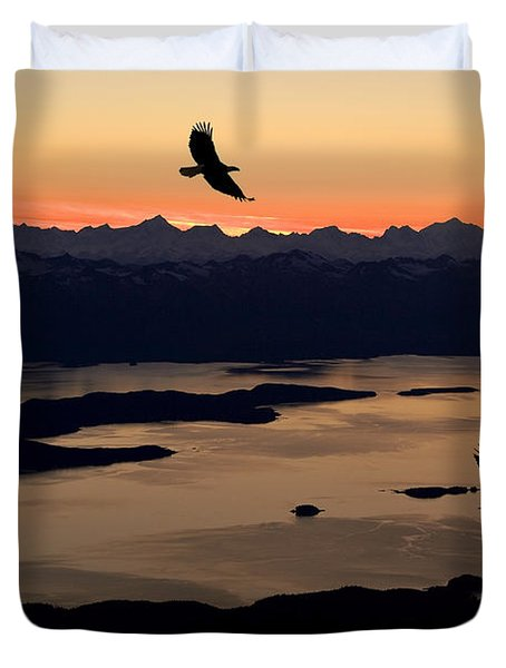Silhouette Of Bald Eagles In Flight At Duvet Cover