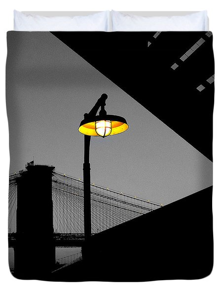 Silhouette Of Brooklyn Bridge New York City Duvet Cover by Sabine Jacobs