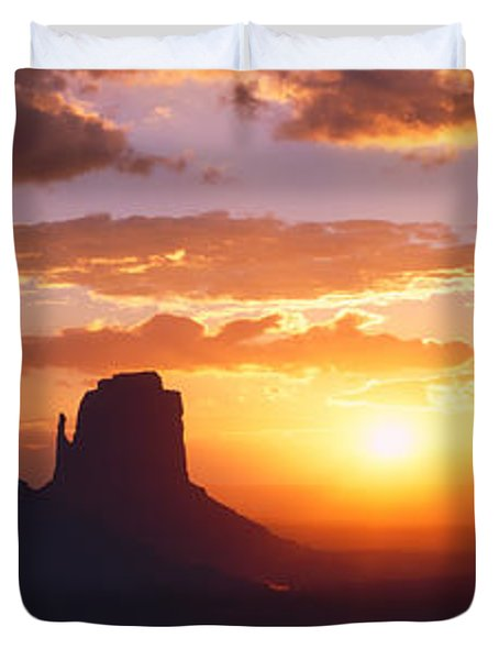 Silhouette Of Buttes At Sunset, The Duvet Cover