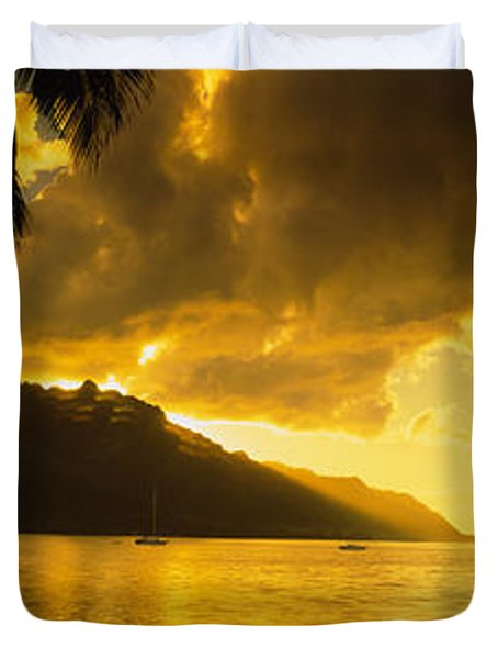 Silhouette Of Palm Trees At Dusk, Cooks Duvet Cover by Panoramic Images