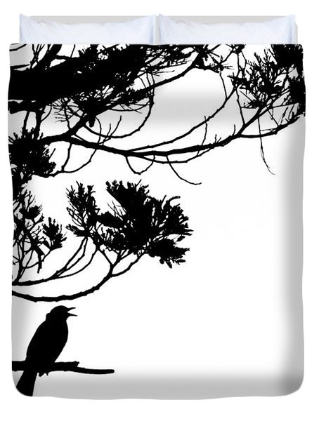 Silhouette Of Singing Common Blackbird In A Tree Duvet Cover by Stephan Pietzko
