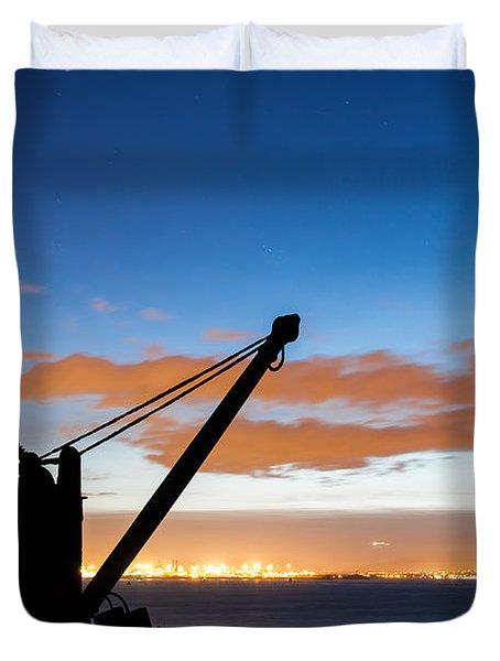 Silhouette Of The Davit In Dublin Port Duvet Cover by Semmick Photo