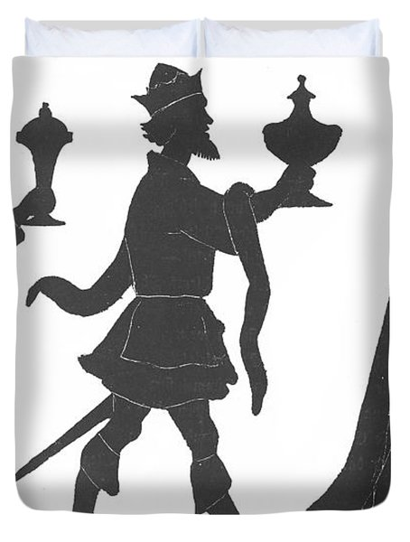 Silhouette Of Three Kings Duvet Cover by English School