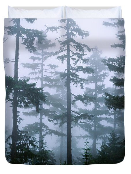 Silhouette Of Trees With Fog Duvet Cover