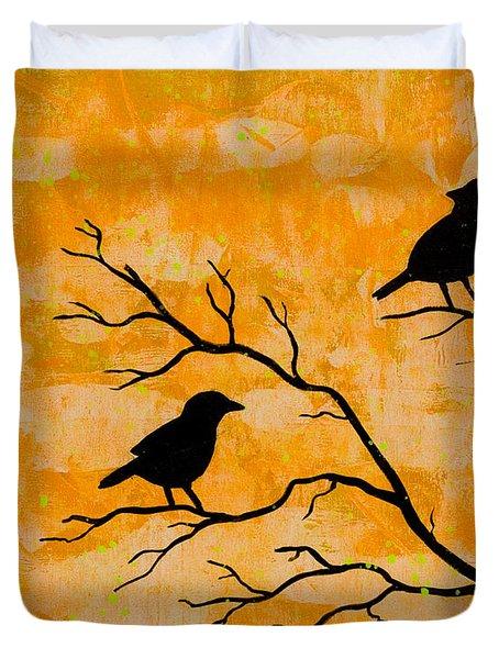 Silhouette Orange Duvet Cover by Stefanie Forck