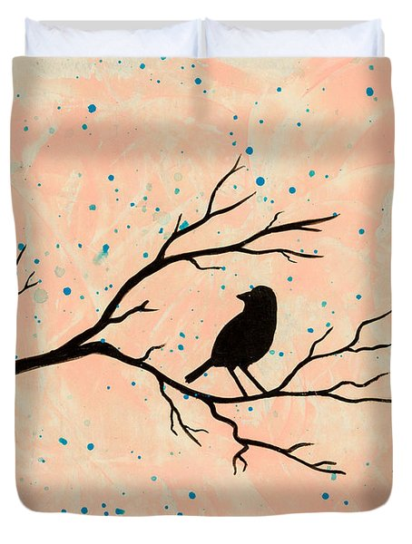 Silhouette Pink Duvet Cover by Stefanie Forck