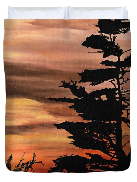 Duvet Cover featuring the painting Silhouette Sunset by Mary Ellen Anderson