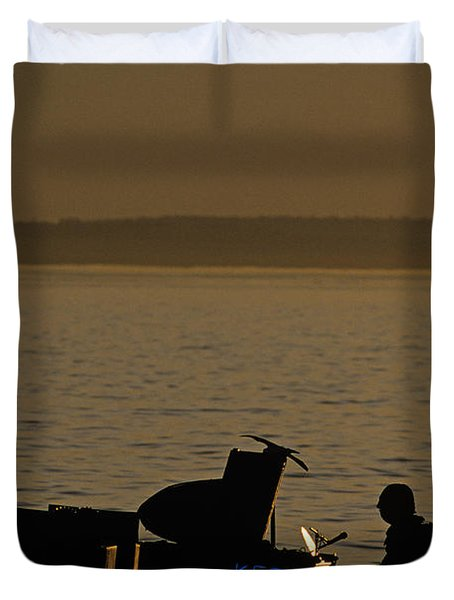Silhouetted Sea Monster Playing Piano.tif Duvet Cover by Jim Corwin