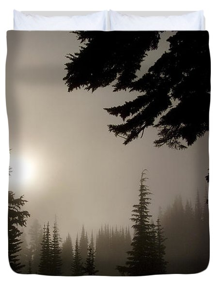 Silhouettes Of Trees On Mt Rainier Duvet Cover
