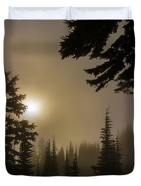 Silhouettes Of Trees On Mt Rainier II Duvet Cover