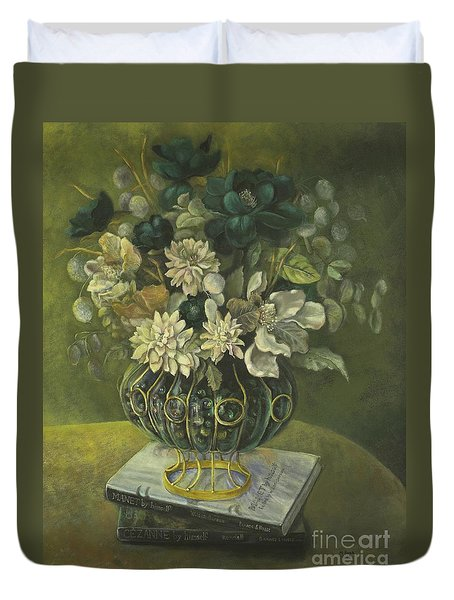 Silk Floral Arrangement Duvet Cover by Marlene Book