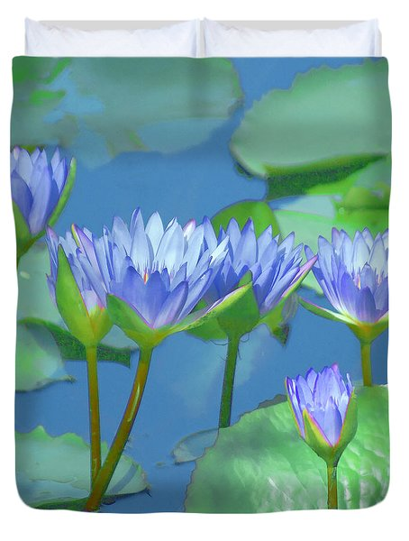 Duvet Cover featuring the photograph Silken Lilies by Holly Kempe