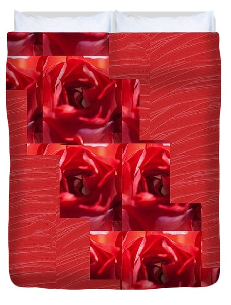 Duvet Cover featuring the photograph Silken Red Sparkles Redrose Across by Navin Joshi