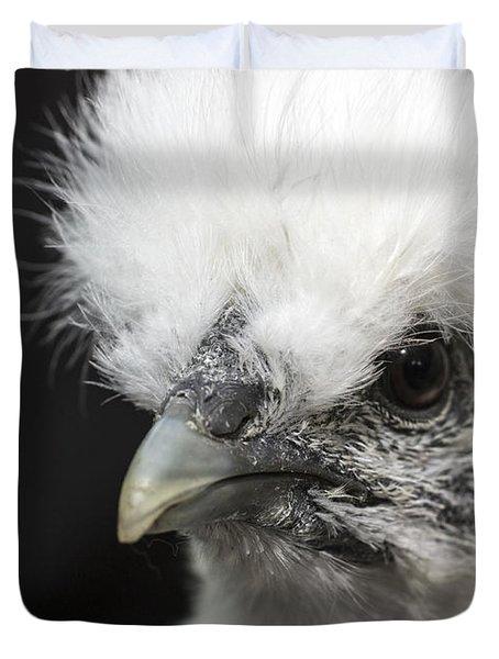Silkie Chicken Portrait Duvet Cover