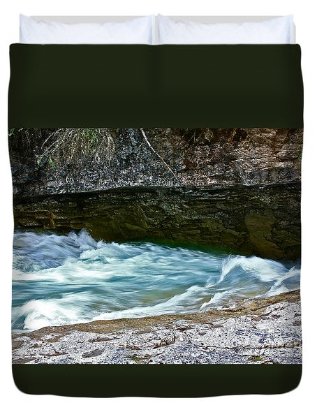 Duvet Cover featuring the photograph Silky Flow by Linda Bianic
