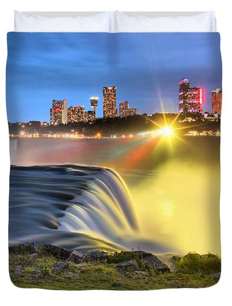 Silky Niagara Falls Panoramic Sunset Duvet Cover by Adam Jewell