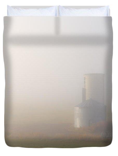 Silo In The Fog Duvet Cover