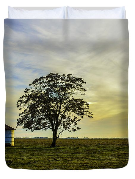 Silos At Sunset Duvet Cover