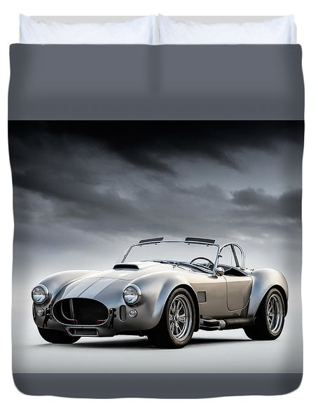 Silver Ac Cobra Duvet Cover by Douglas Pittman